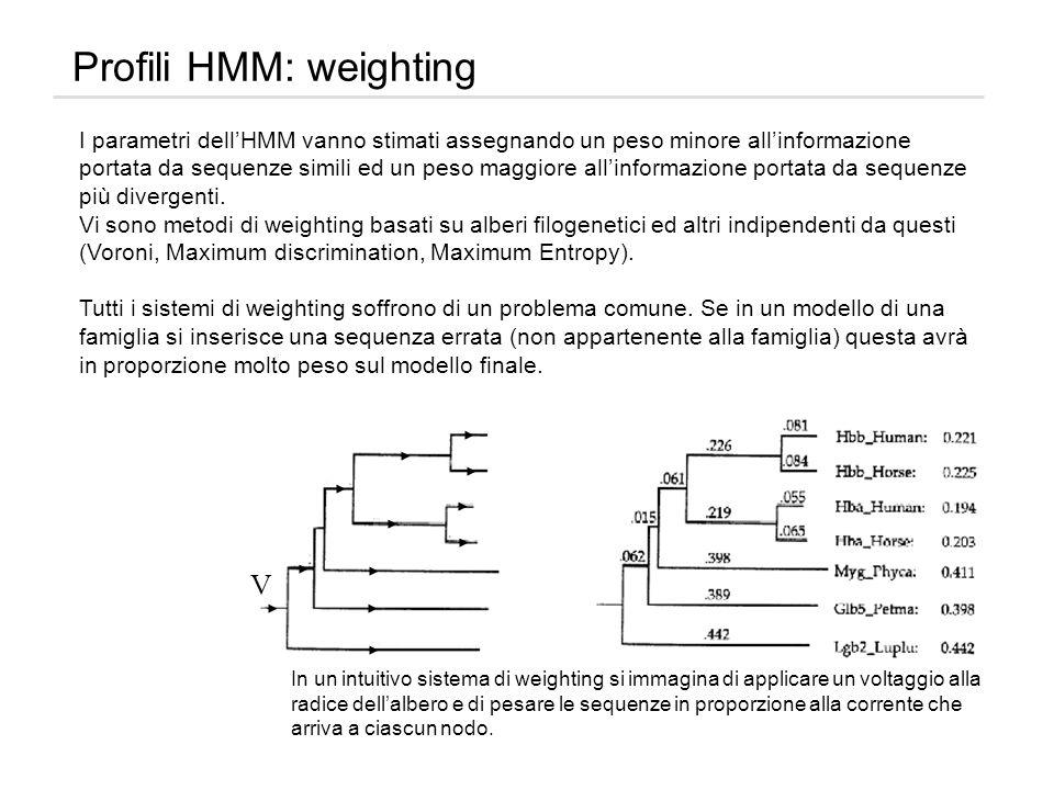 Profili HMM: weighting I parametri dellHMM vanno stimati assegnando un peso minore allinformazione portata da sequenze simili ed un peso maggiore alli