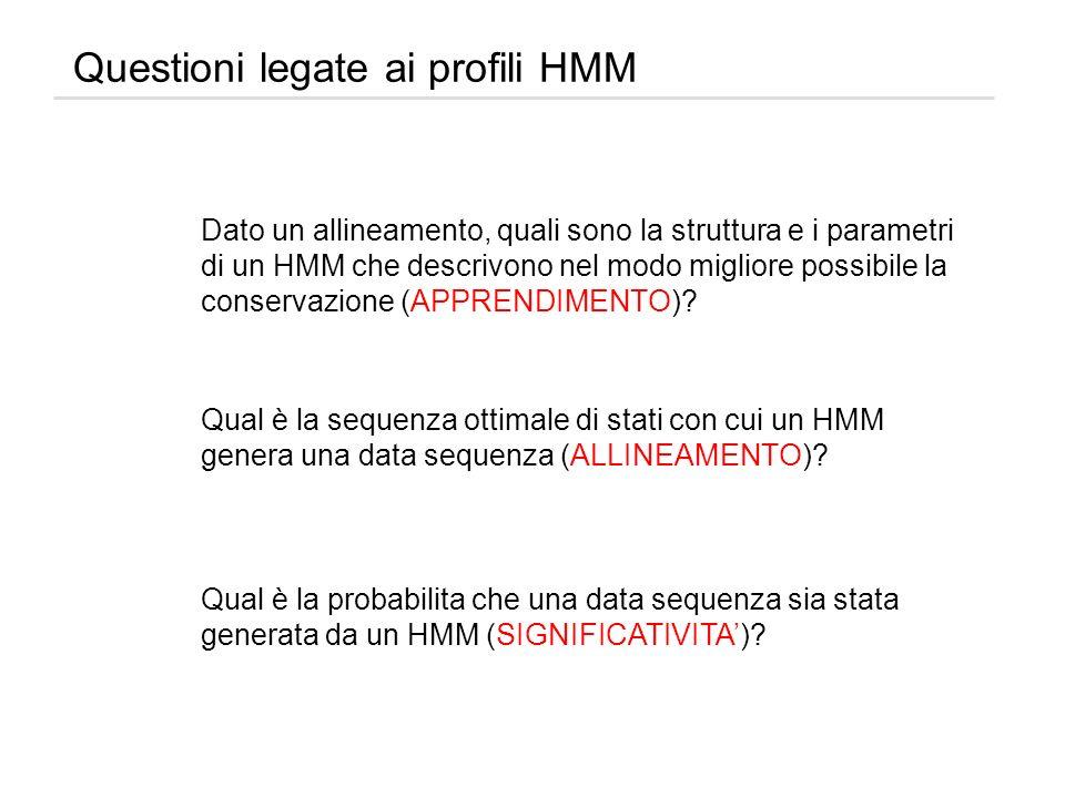 Questioni legate ai profili HMM Dato un allineamento, quali sono la struttura e i parametri di un HMM che descrivono nel modo migliore possibile la co