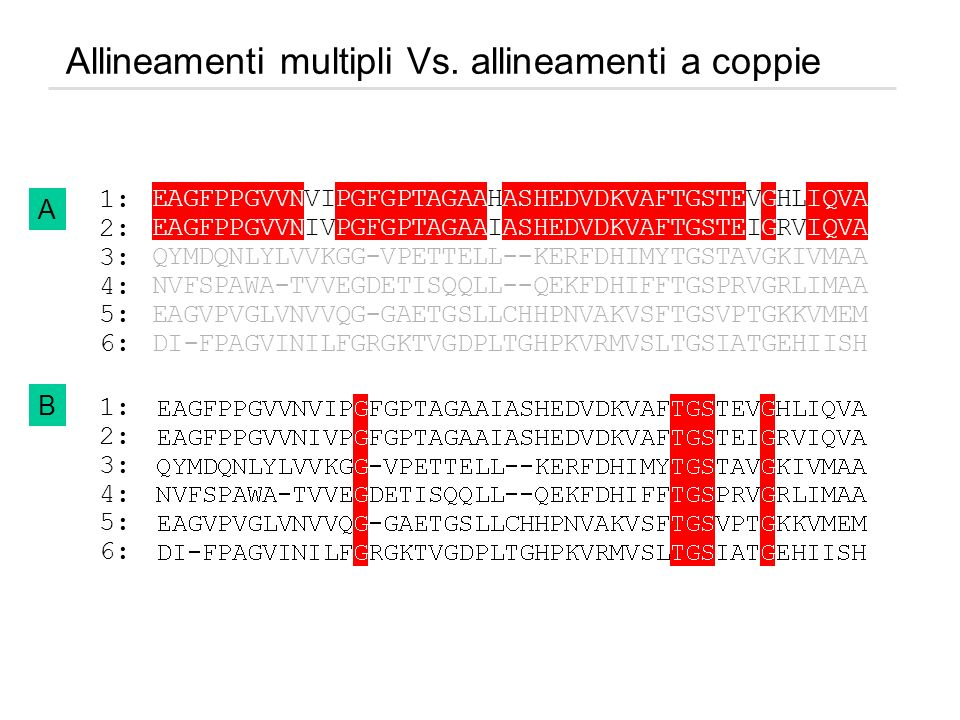 Allineamenti multipli Vs. allineamenti a coppie 1: 2: 3: 4: 5: 6: B