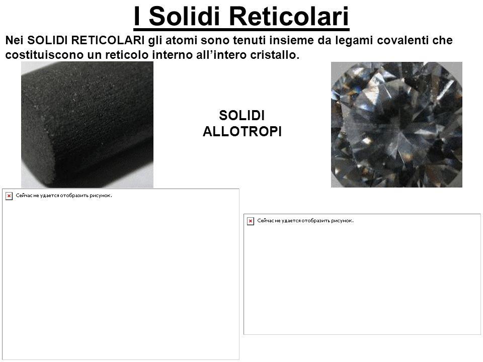 I Solidi Reticolari Nei SOLIDI RETICOLARI gli atomi sono tenuti insieme da legami covalenti che costituiscono un reticolo interno allintero cristallo.