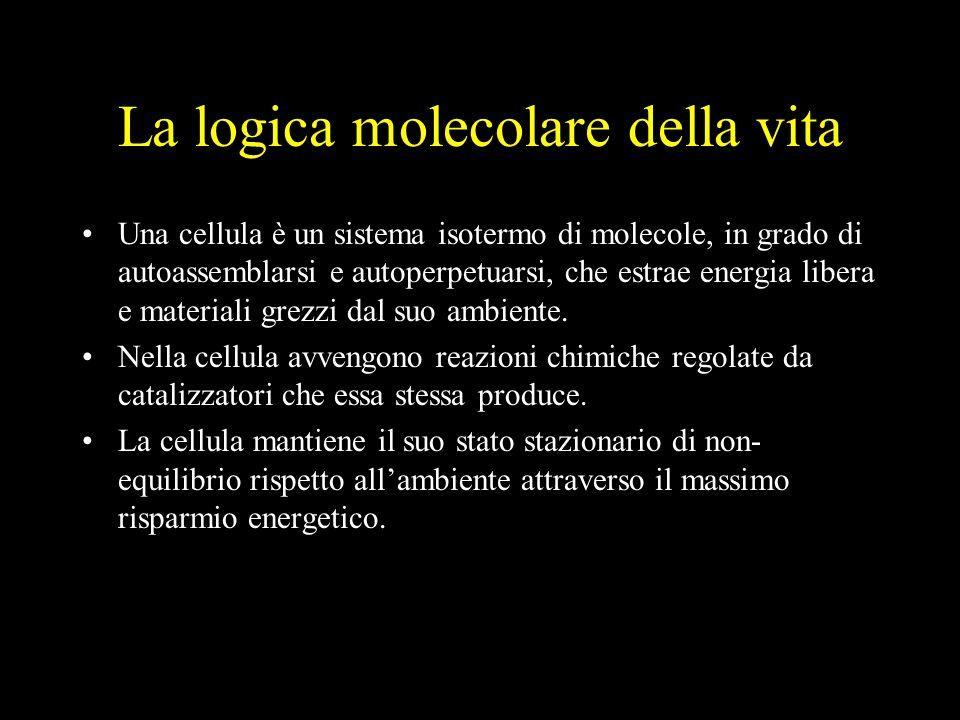La logica molecolare della vita Una cellula è un sistema isotermo di molecole, in grado di autoassemblarsi e autoperpetuarsi, che estrae energia libera e materiali grezzi dal suo ambiente.