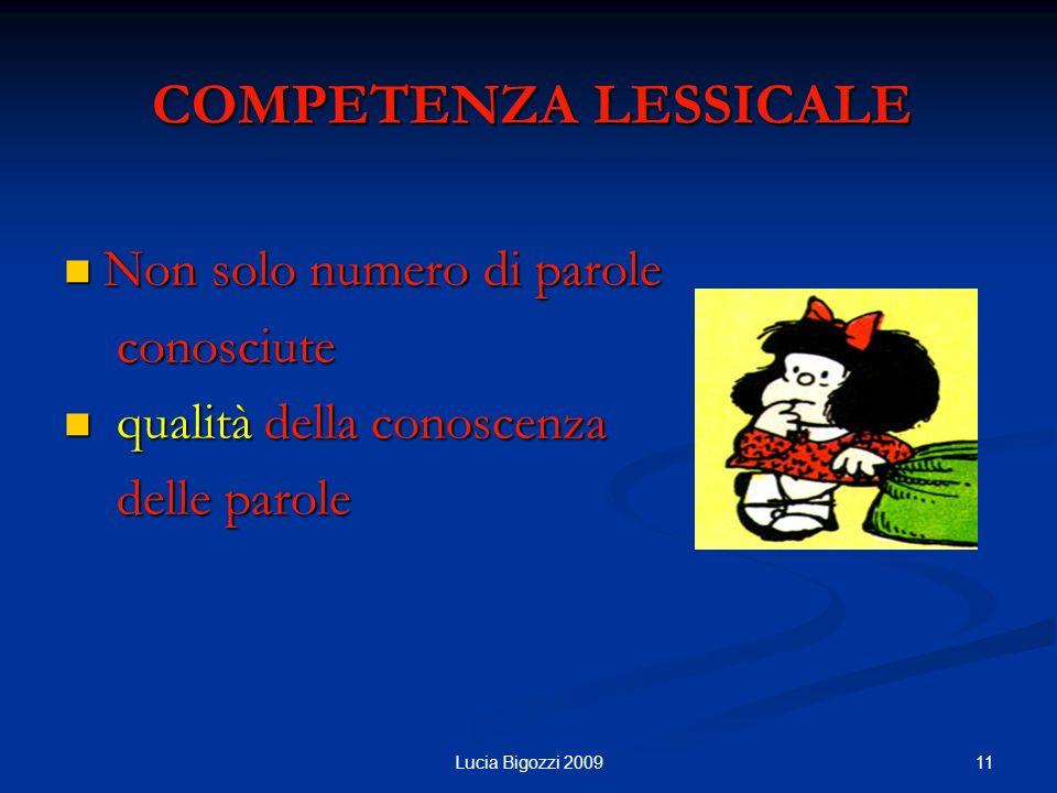 COMPETENZA LESSICALE COMPETENZA LESSICALE Non solo numero di parole Non solo numero di parole conosciute conosciute qualità della conoscenza qualità d