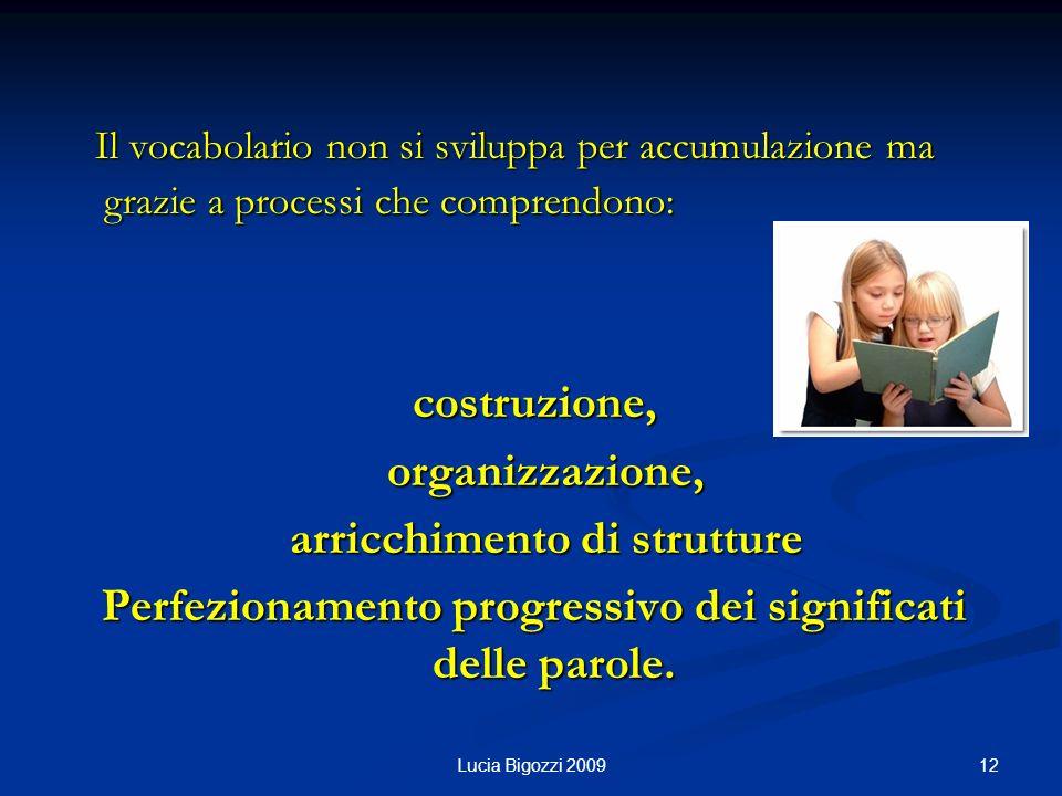 Il vocabolario non si sviluppa per accumulazione ma grazie a processi che comprendono: Il vocabolario non si sviluppa per accumulazione ma grazie a pr