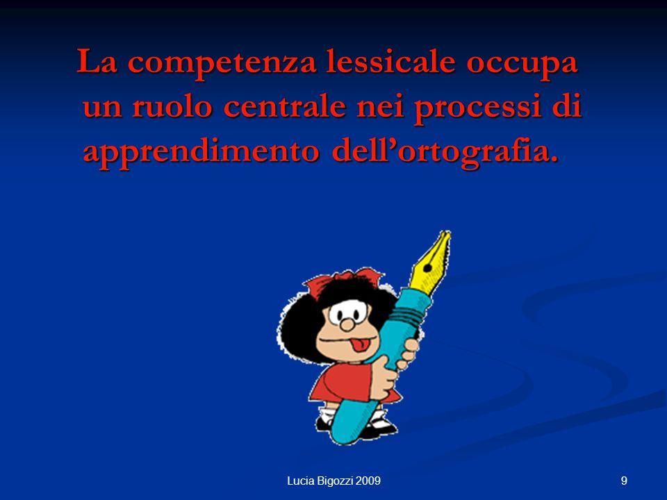 La competenza lessicale occupa un ruolo centrale nei processi di apprendimento dellortografia.