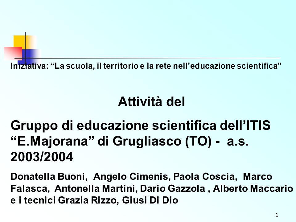 1 Iniziativa: La scuola, il territorio e la rete nelleducazione scientifica Attività del Gruppo di educazione scientifica dellITIS E.Majorana di Grugliasco (TO) - a.s.