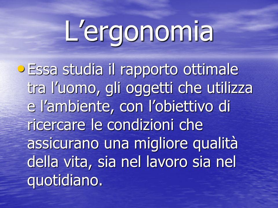 Lergonomia Essa studia il rapporto ottimale tra luomo, gli oggetti che utilizza e lambiente, con lobiettivo di ricercare le condizioni che assicurano una migliore qualità della vita, sia nel lavoro sia nel quotidiano.