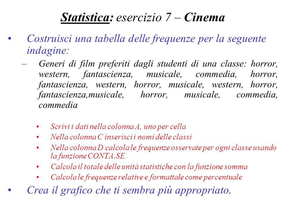 Statistica: esercizio 7 – Cinema Costruisci una tabella delle frequenze per la seguente indagine: –Generi di film preferiti dagli studenti di una clas