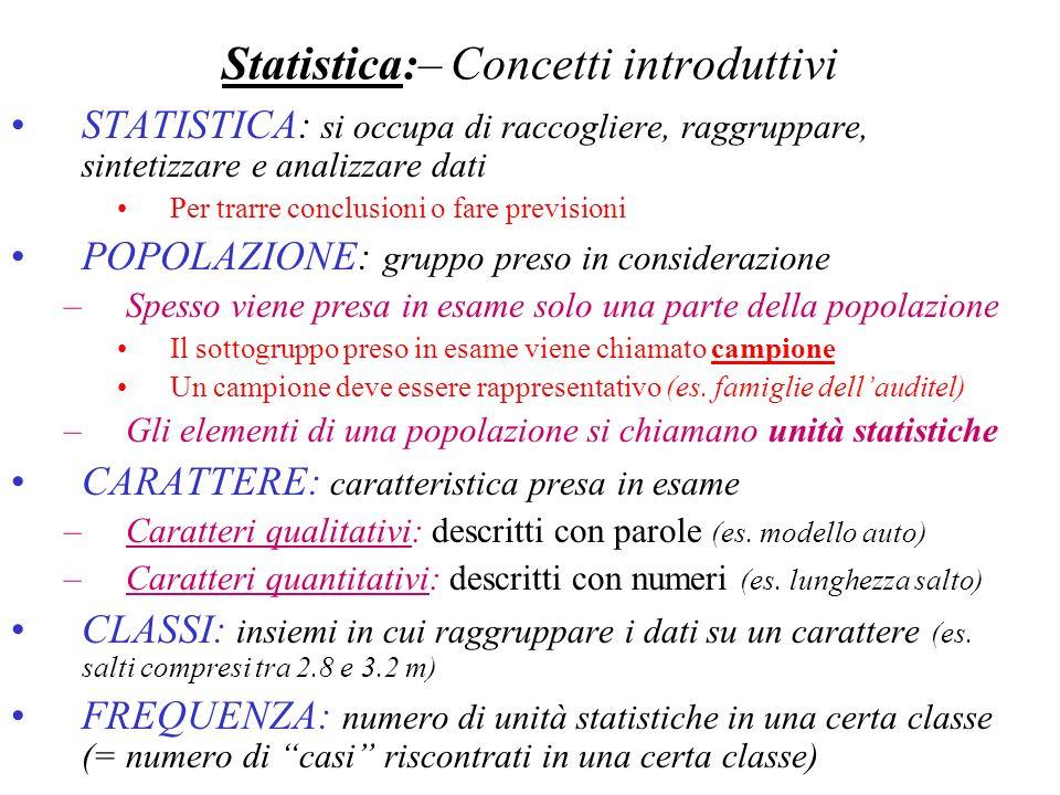 Statistica:– Concetti introduttivi STATISTICA: si occupa di raccogliere, raggruppare, sintetizzare e analizzare dati Per trarre conclusioni o fare pre