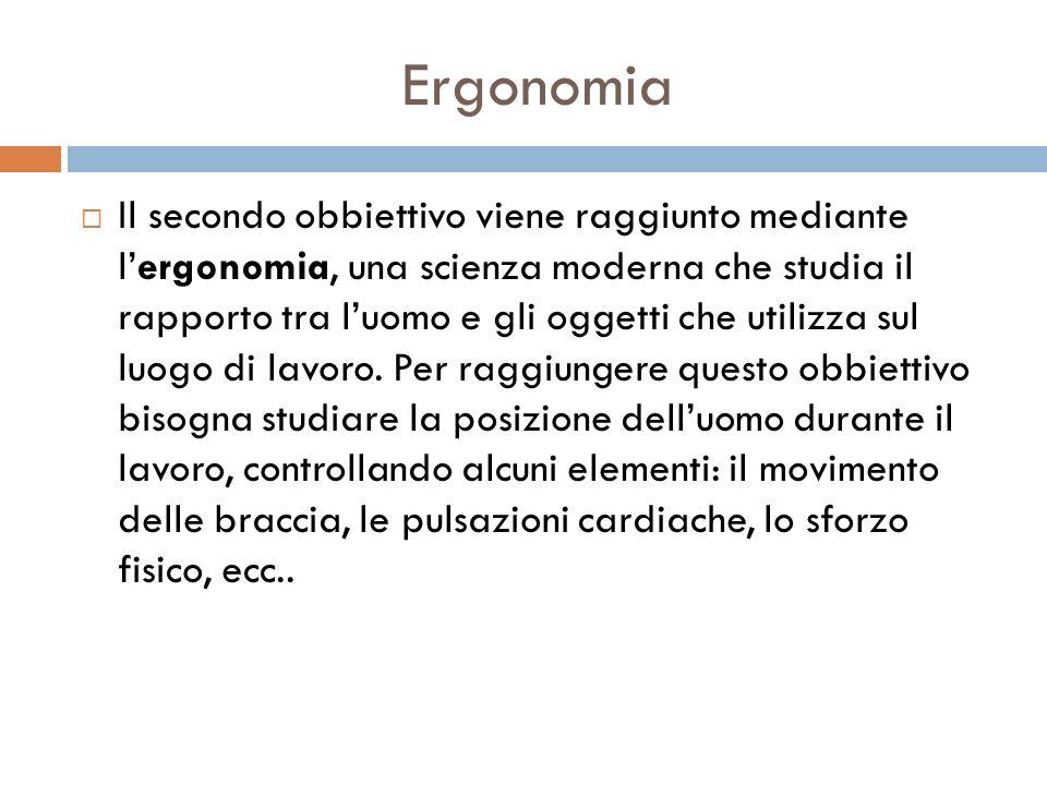 Ergonomia Il secondo obbiettivo viene raggiunto mediante lergonomia, una scienza moderna che studia il rapporto tra luomo e gli oggetti che utilizza s