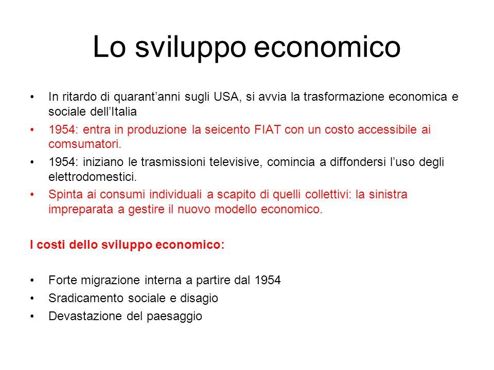 Lo sviluppo economico In ritardo di quarantanni sugli USA, si avvia la trasformazione economica e sociale dellItalia 1954: entra in produzione la seic