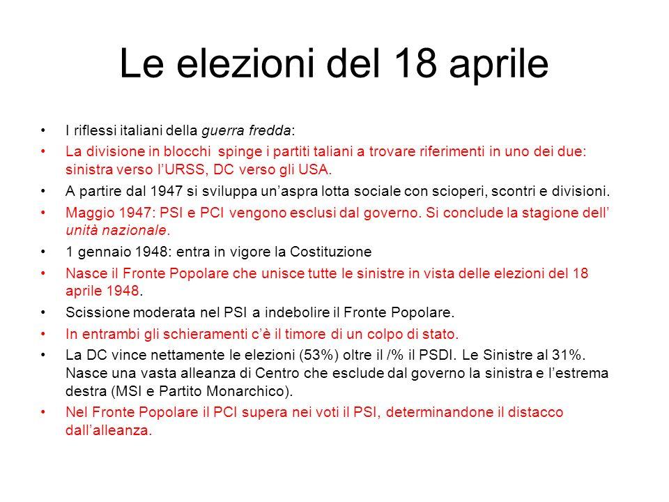 Le elezioni del 18 aprile I riflessi italiani della guerra fredda: La divisione in blocchi spinge i partiti taliani a trovare riferimenti in uno dei d