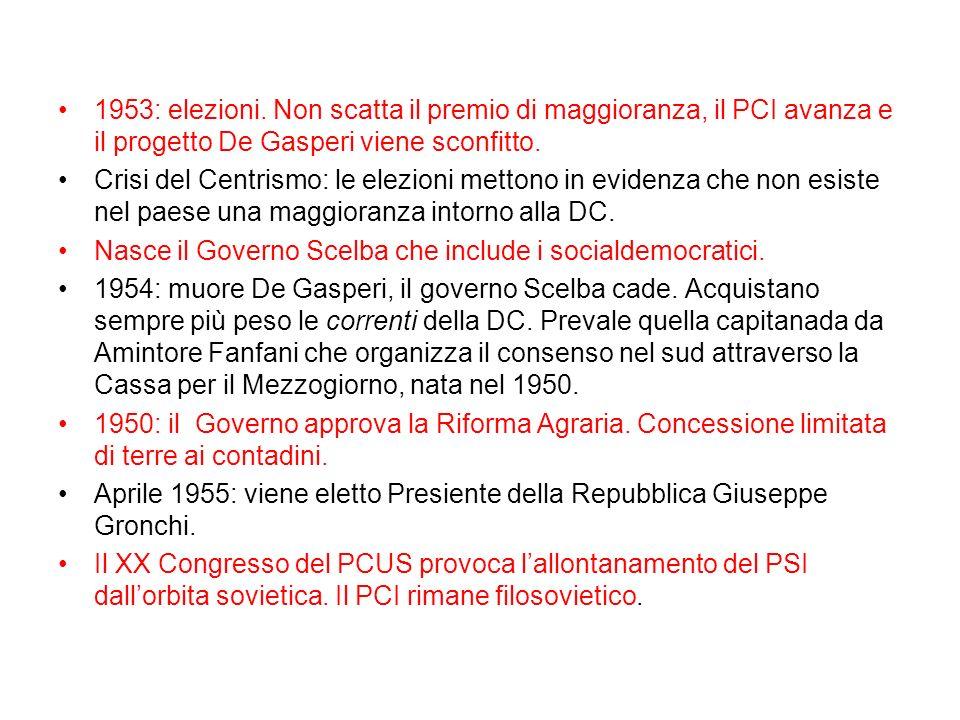 1953: elezioni. Non scatta il premio di maggioranza, il PCI avanza e il progetto De Gasperi viene sconfitto. Crisi del Centrismo: le elezioni mettono