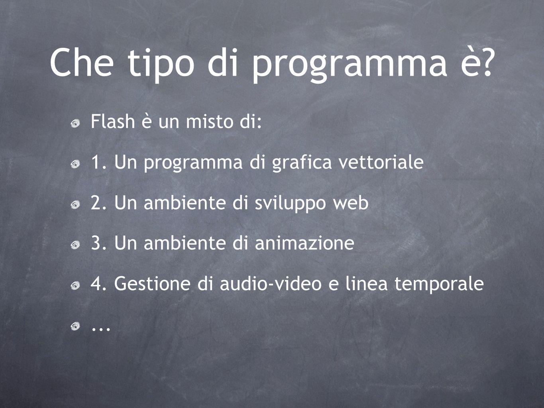 Che tipo di programma è? Flash è un misto di: 1. Un programma di grafica vettoriale 2. Un ambiente di sviluppo web 3. Un ambiente di animazione 4. Ges