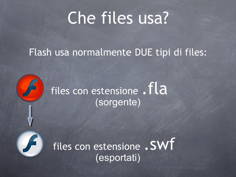 Che files usa? Flash usa normalmente DUE tipi di files: files con estensione.fla files con estensione.swf (sorgente) (esportati)