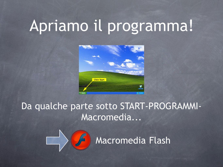 Apriamo il programma! Da qualche parte sotto START-PROGRAMMI- Macromedia... Macromedia Flash