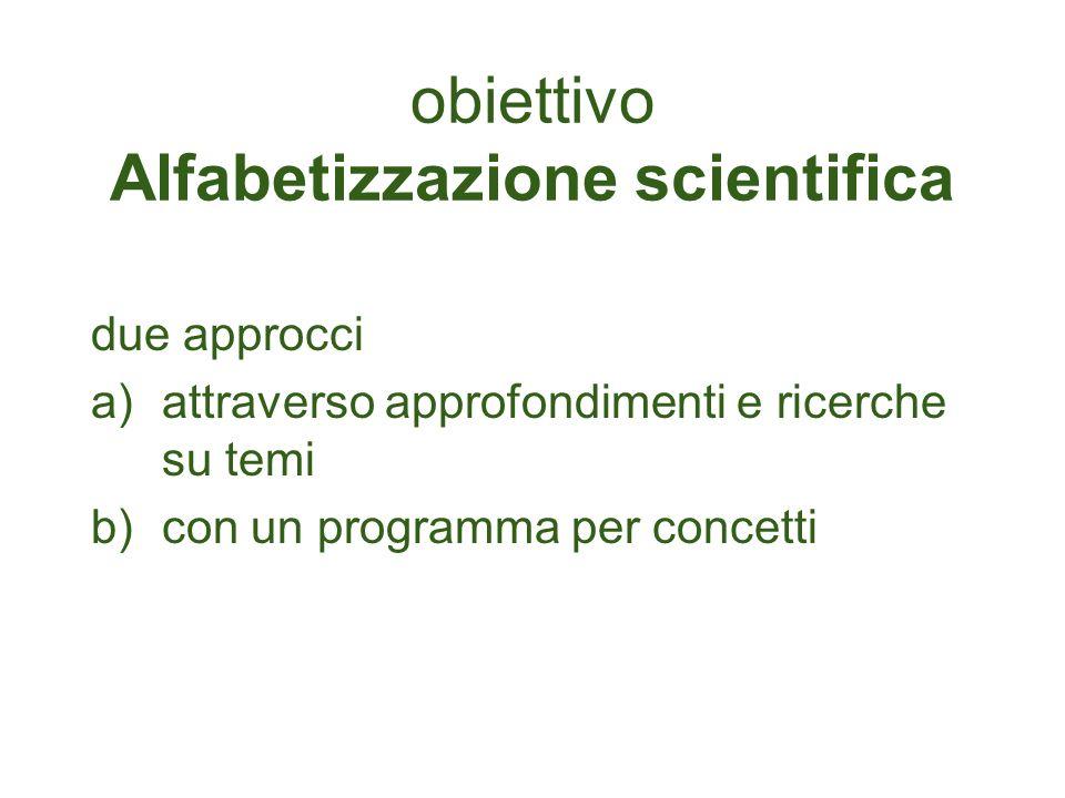 obiettivo Alfabetizzazione scientifica due approcci a)attraverso approfondimenti e ricerche su temi b)con un programma per concetti