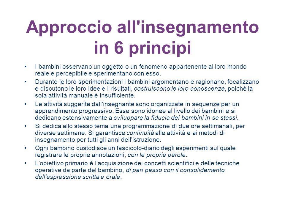 Approccio all'insegnamento in 6 principi I bambini osservano un oggetto o un fenomeno appartenente al loro mondo reale e percepibile e sperimentano co