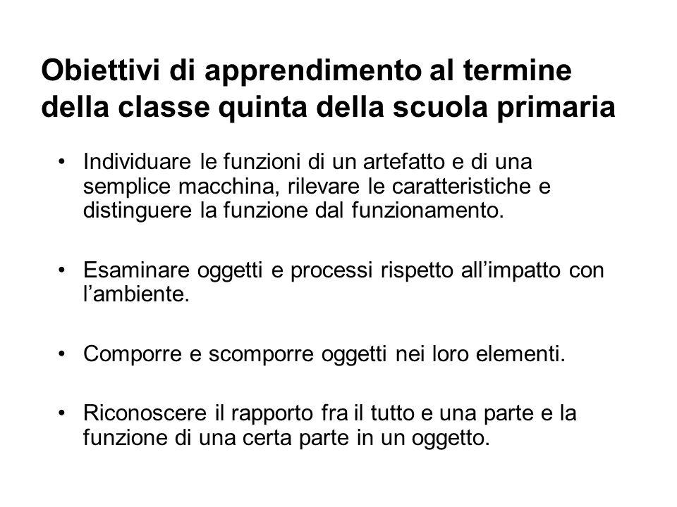 Obiettivi di apprendimento al termine della classe quinta della scuola primaria Individuare le funzioni di un artefatto e di una semplice macchina, ri