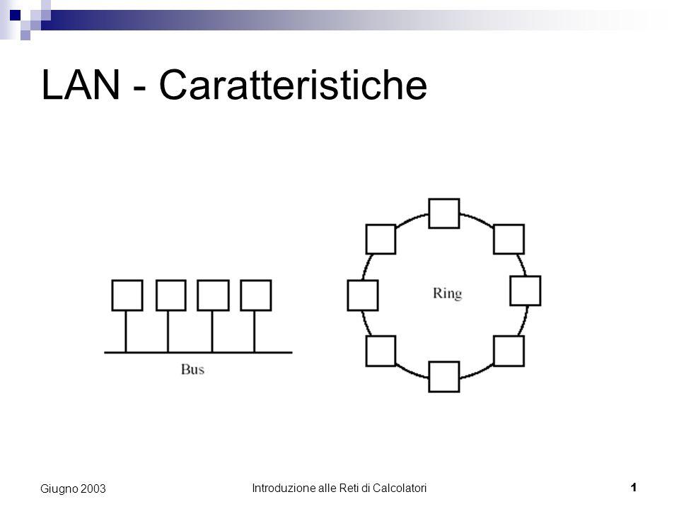 Introduzione alle Reti di Calcolatori 1 Giugno 2003 LAN - Caratteristiche