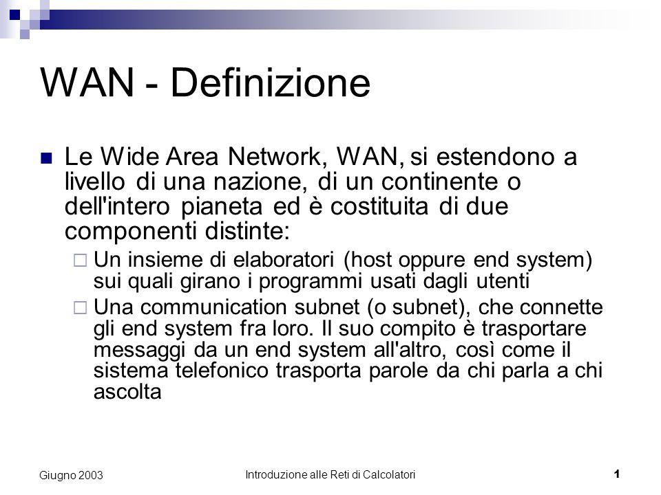 Introduzione alle Reti di Calcolatori 1 Giugno 2003 WAN - Definizione Le Wide Area Network, WAN, si estendono a livello di una nazione, di un continen