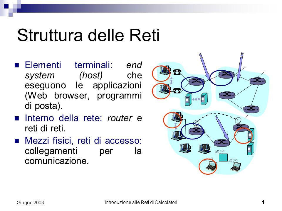 Introduzione alle Reti di Calcolatori 1 Giugno 2003 Struttura delle Reti Elementi terminali: end system (host) che eseguono le applicazioni (Web brows