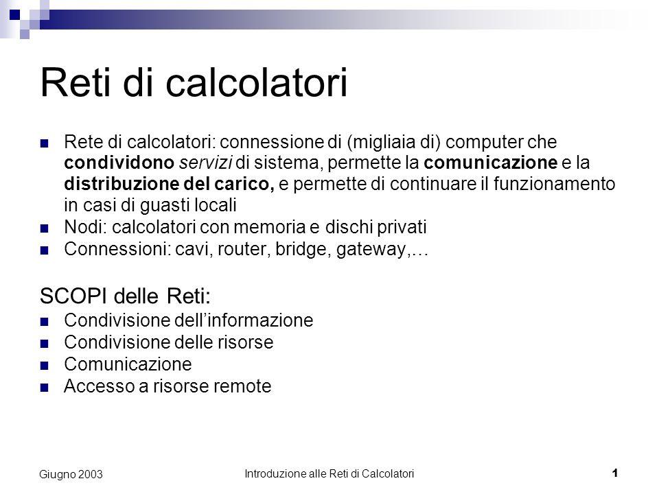 Introduzione alle Reti di Calcolatori 1 Giugno 2003 Reti di calcolatori Rete di calcolatori: connessione di (migliaia di) computer che condividono ser