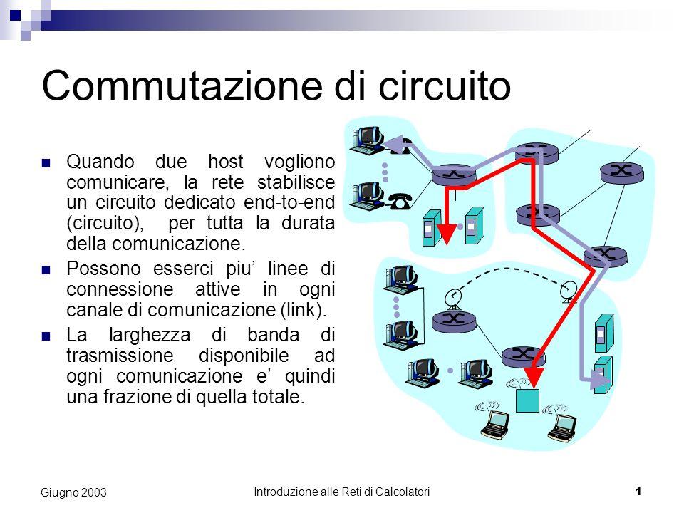 Introduzione alle Reti di Calcolatori 1 Giugno 2003 Commutazione di circuito Quando due host vogliono comunicare, la rete stabilisce un circuito dedicato end-to-end (circuito), per tutta la durata della comunicazione.