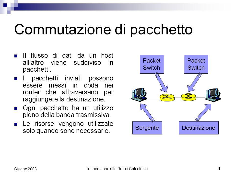 Introduzione alle Reti di Calcolatori 1 Giugno 2003 Commutazione di pacchetto Il flusso di dati da un host allaltro viene suddiviso in pacchetti. I pa