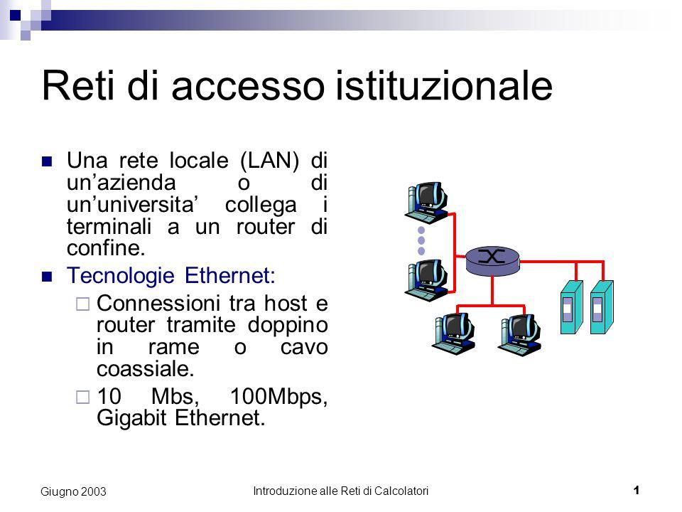 Introduzione alle Reti di Calcolatori 1 Giugno 2003 Reti di accesso istituzionale Una rete locale (LAN) di unazienda o di ununiversita collega i terminali a un router di confine.