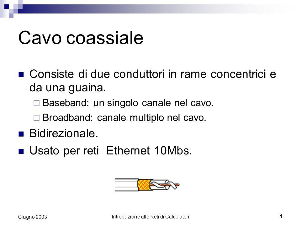 Introduzione alle Reti di Calcolatori 1 Giugno 2003 Cavo coassiale Consiste di due conduttori in rame concentrici e da una guaina. Baseband: un singol