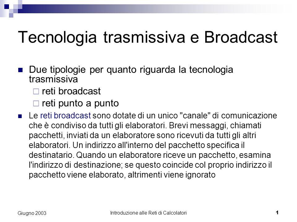 Introduzione alle Reti di Calcolatori 1 Giugno 2003 Tecnologia trasmissiva e Broadcast Due tipologie per quanto riguarda la tecnologia trasmissiva reti broadcast reti punto a punto Le reti broadcast sono dotate di un unico canale di comunicazione che è condiviso da tutti gli elaboratori.
