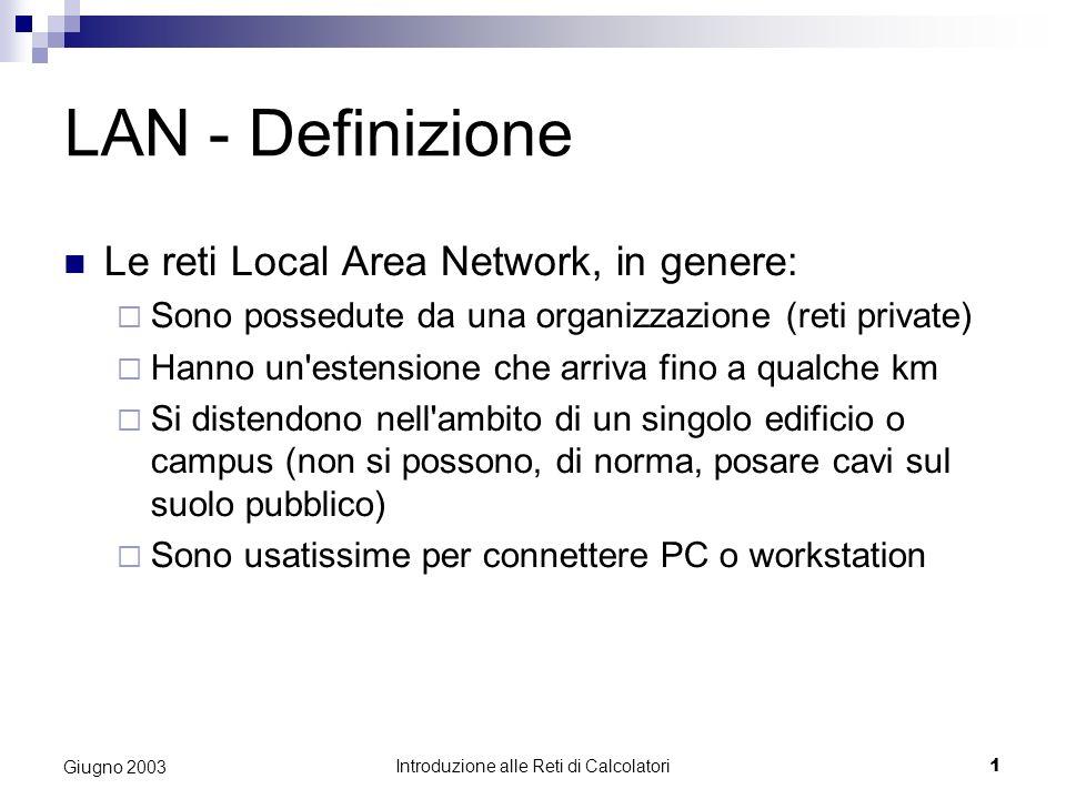 Introduzione alle Reti di Calcolatori 1 Giugno 2003 LAN - Definizione Le reti Local Area Network, in genere: Sono possedute da una organizzazione (ret