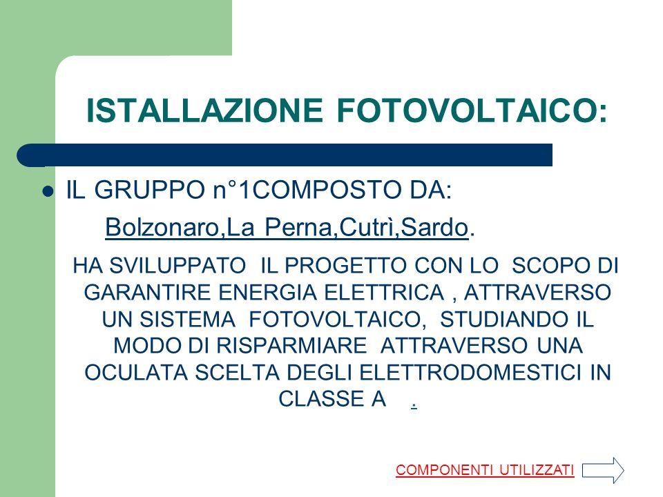 ISTALLAZIONE FOTOVOLTAICO: IL GRUPPO n°1COMPOSTO DA: Bolzonaro,La Perna,Cutrì,Sardo.