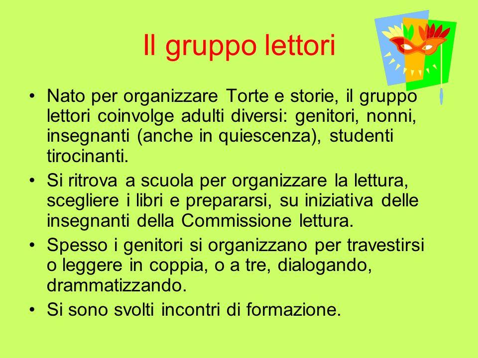 Il gruppo lettori Nato per organizzare Torte e storie, il gruppo lettori coinvolge adulti diversi: genitori, nonni, insegnanti (anche in quiescenza), studenti tirocinanti.