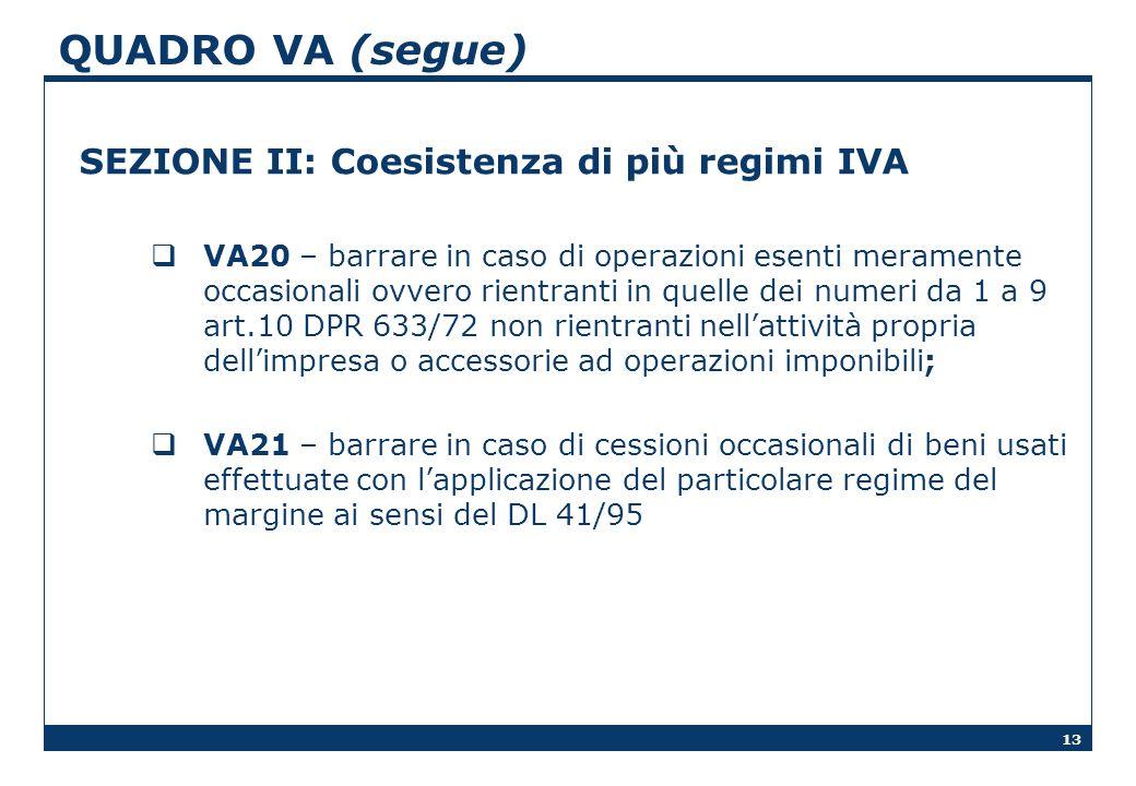 13 QUADRO VA (segue) SEZIONE II: Coesistenza di più regimi IVA VA20 – barrare in caso di operazioni esenti meramente occasionali ovvero rientranti in