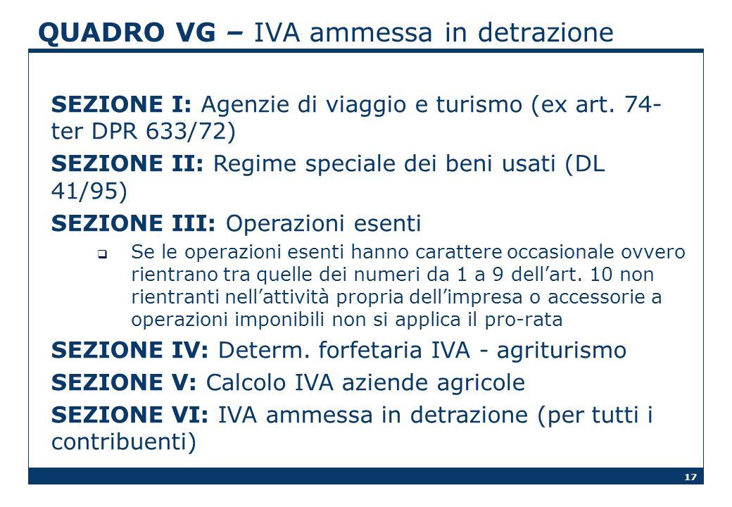 17 QUADRO VG – IVA ammessa in detrazione SEZIONE I: Agenzie di viaggio e turismo (ex art. 74- ter DPR 633/72) SEZIONE II: Regime speciale dei beni usa