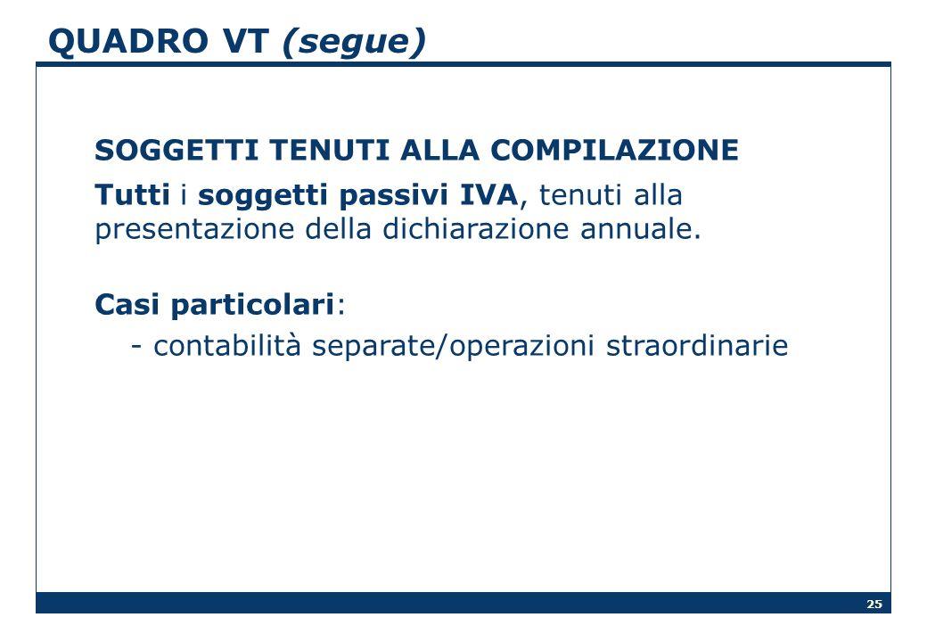 25 QUADRO VT (segue) SOGGETTI TENUTI ALLA COMPILAZIONE Tutti i soggetti passivi IVA, tenuti alla presentazione della dichiarazione annuale. Casi parti