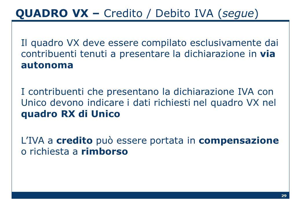 29 QUADRO VX – Credito / Debito IVA (segue) Il quadro VX deve essere compilato esclusivamente dai contribuenti tenuti a presentare la dichiarazione in