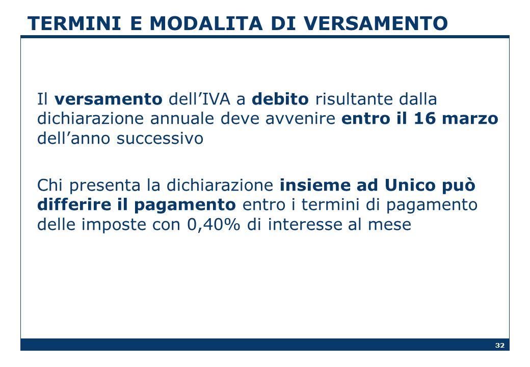 32 TERMINI E MODALITA DI VERSAMENTO Il versamento dellIVA a debito risultante dalla dichiarazione annuale deve avvenire entro il 16 marzo dellanno suc