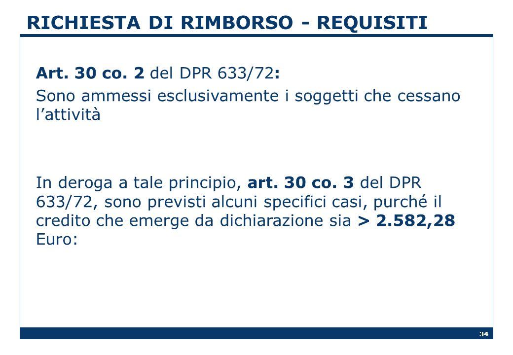 34 RICHIESTA DI RIMBORSO - REQUISITI Art. 30 co. 2 del DPR 633/72: Sono ammessi esclusivamente i soggetti che cessano lattività In deroga a tale princ