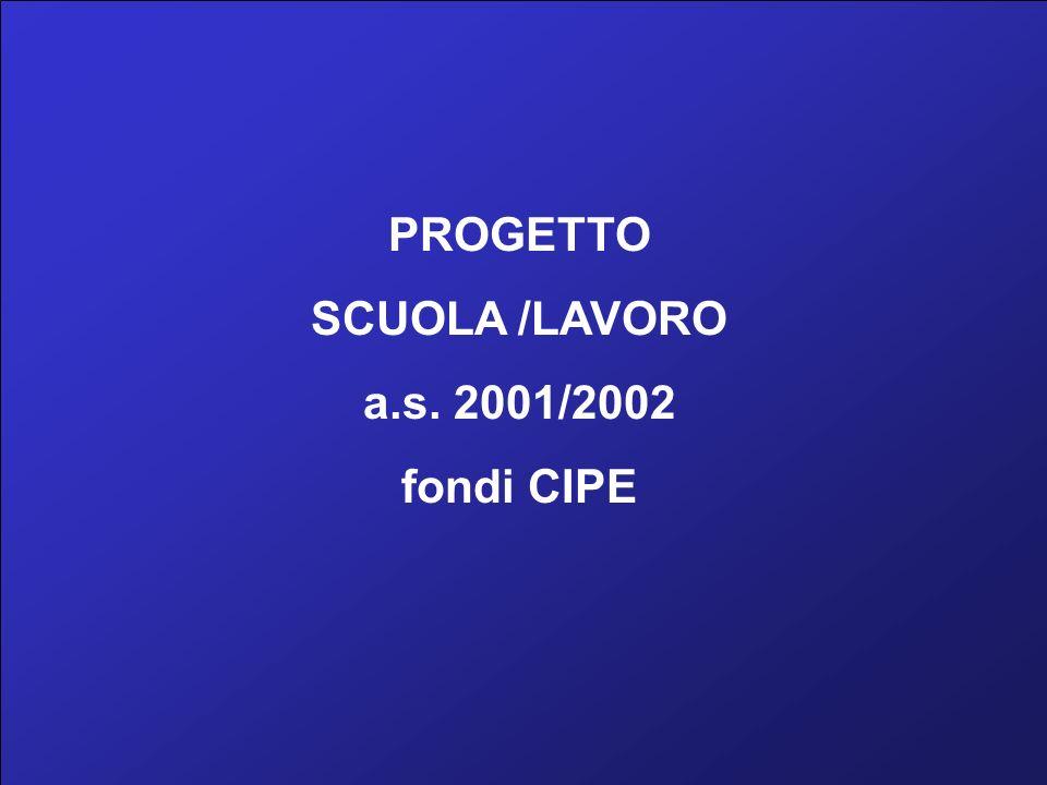 PROGETTO SCUOLA /LAVORO a.s. 2001/2002 fondi CIPE