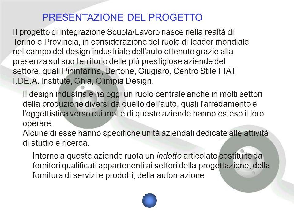 Il progetto di integrazione Scuola/Lavoro nasce nella realtà di Torino e Provincia, in considerazione del ruolo di leader mondiale nel campo del design industriale dell auto ottenuto grazie alla presenza sul suo territorio delle più prestigiose aziende del settore, quali Pininfarina, Bertone, Giugiaro, Centro Stile FIAT, I.DE.A.