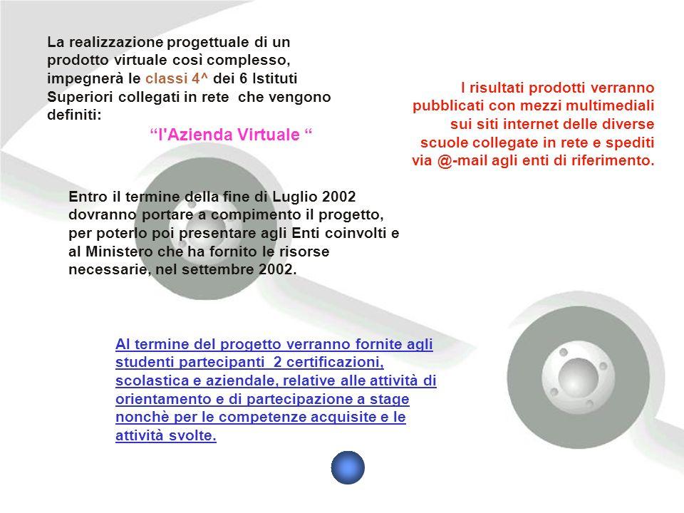 La realizzazione progettuale di un prodotto virtuale così complesso, impegnerà le classi 4^ dei 6 Istituti Superiori collegati in rete che vengono def