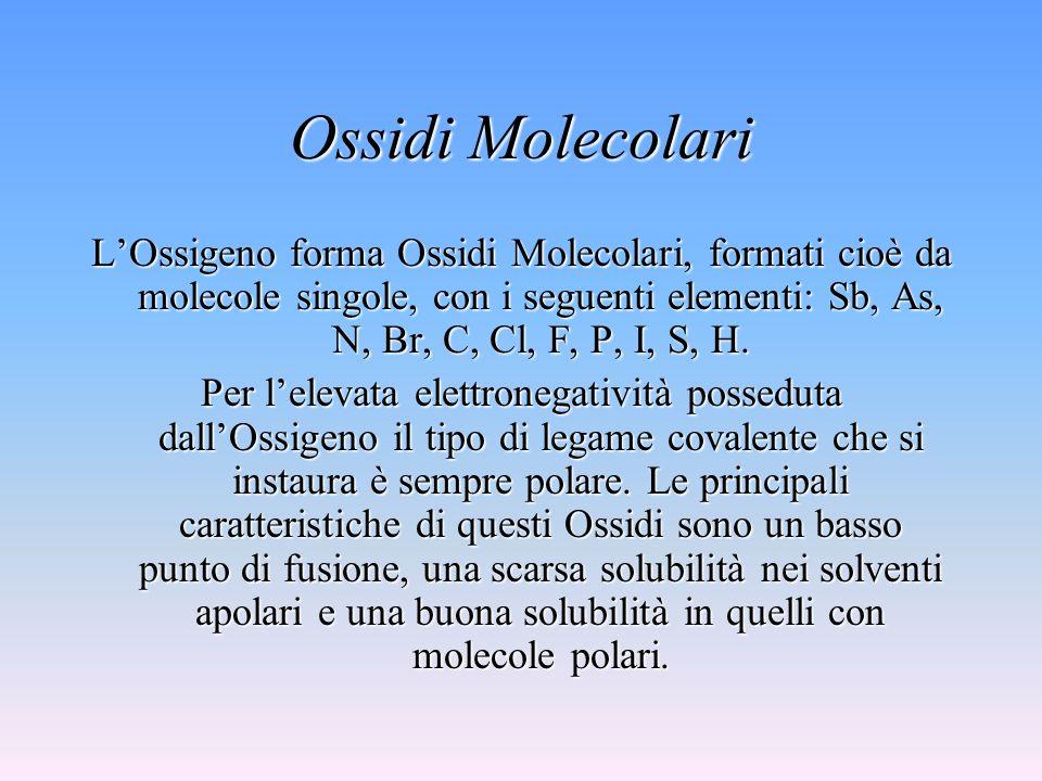 Ossidi Molecolari LOssigeno forma Ossidi Molecolari, formati cioè da molecole singole, con i seguenti elementi: Sb, As, N, Br, C, Cl, F, P, I, S, H.
