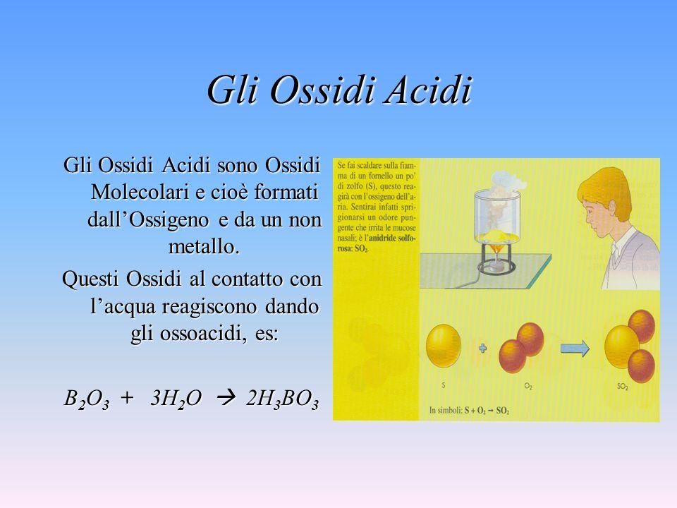 Gli Ossidi Acidi Gli Ossidi Acidi sono Ossidi Molecolari e cioè formati dallOssigeno e da un non metallo.