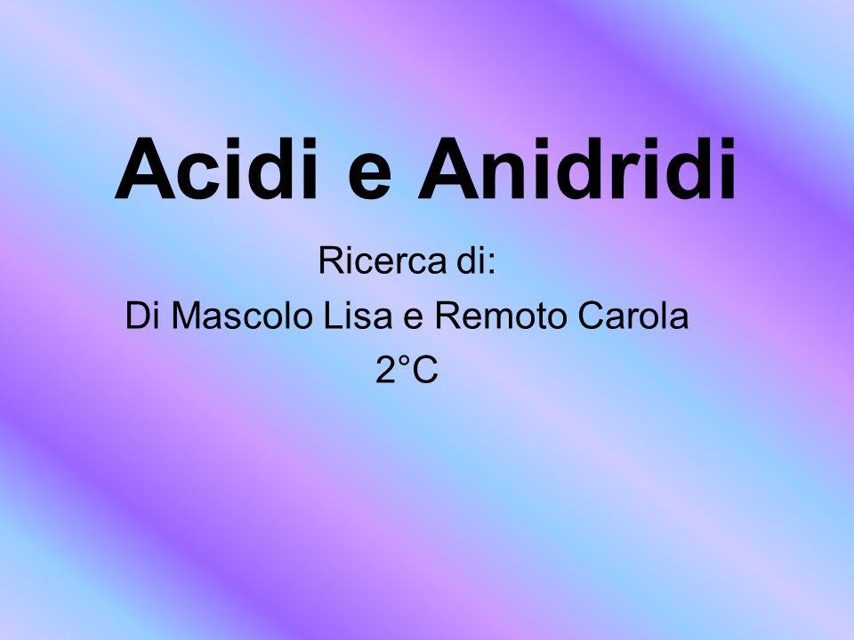 Acidi e Anidridi Ricerca di: Di Mascolo Lisa e Remoto Carola 2°C