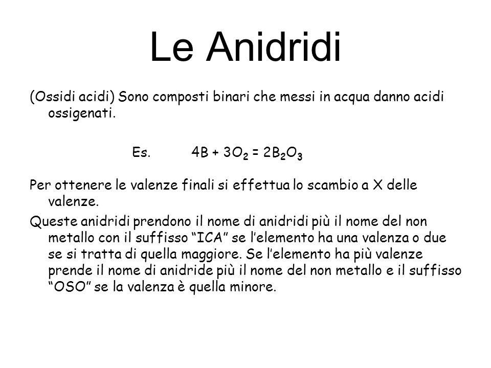 Le Anidridi (Ossidi acidi) Sono composti binari che messi in acqua danno acidi ossigenati. Es. 4B + 3O 2 = 2B 2 O 3 Per ottenere le valenze finali si