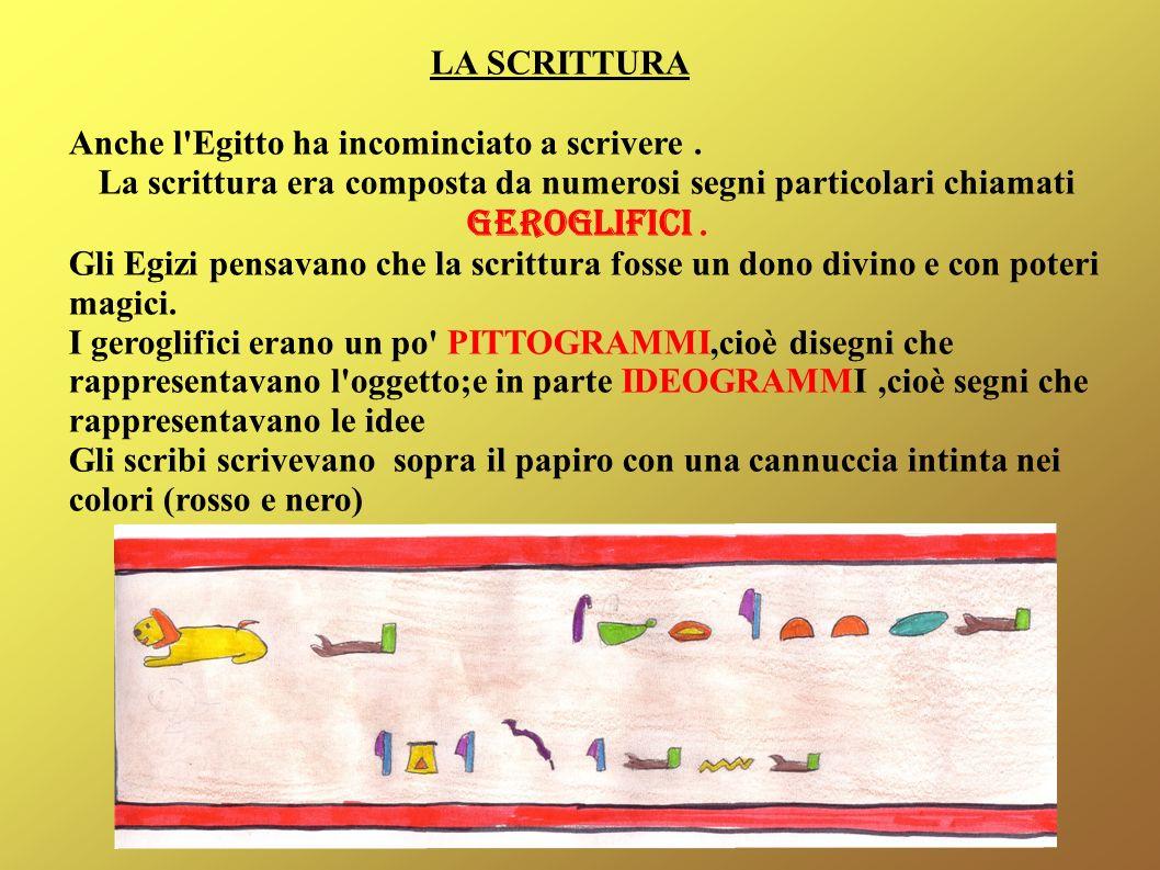 LA SCRITTURA Anche l'Egitto ha incominciato a scrivere. La scrittura era composta da numerosi segni particolari chiamati GEROGLIFICI. Gli Egizi pensav
