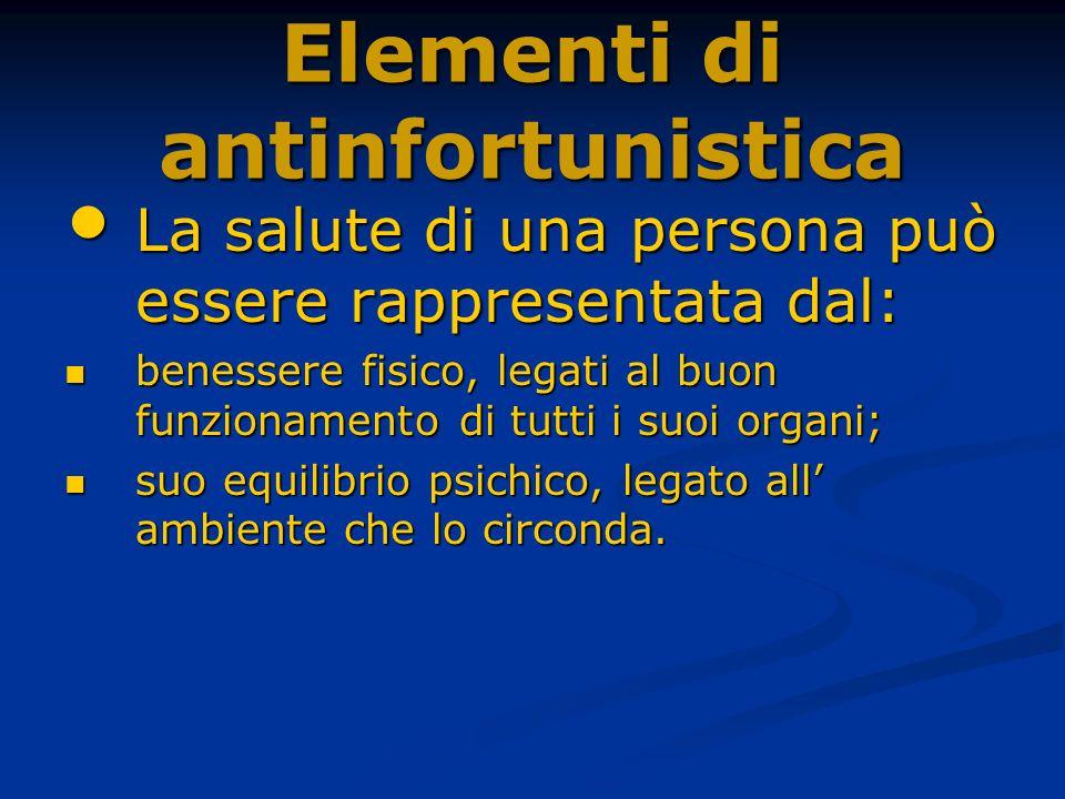 Elementi di antinfortunistica La salute di una persona può essere rappresentata dal: La salute di una persona può essere rappresentata dal: benessere