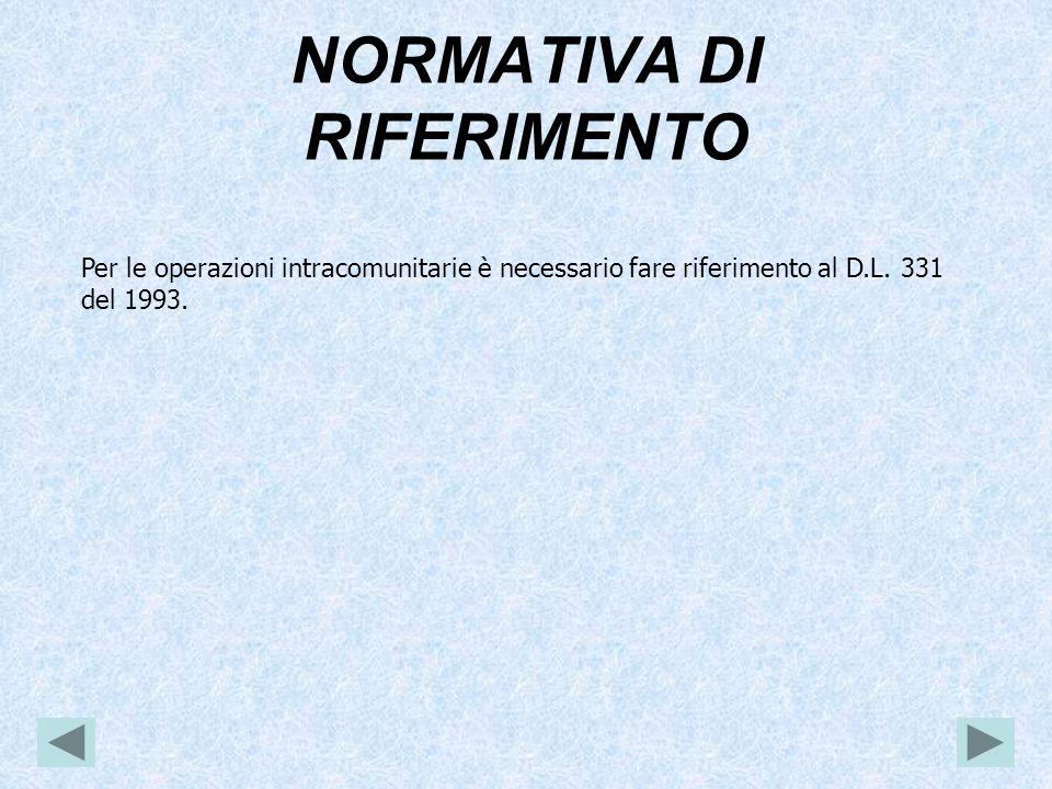 NORMATIVA DI RIFERIMENTO Per le operazioni intracomunitarie è necessario fare riferimento al D.L.